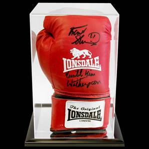 Frank Bruno & Tim Witherspoon Dual Signed Boxing Glove With Acrylic Display Case