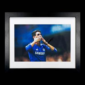 Oscar Dos Santos Signed Chelsea Photo Blowing Kisses - Small, Framed