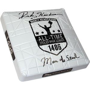 "Rickey Henderson Signed Commemorative Base ""Man of Steal"""