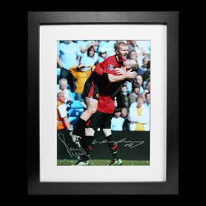 Paul Scholes & Wayne Rooney dual signed & framed photo - United Legends