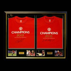 Wayne Rooney & Ryan Giggs Framed Manchester United Champions 20 Shirts - Dual Framed