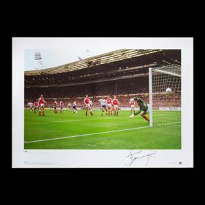 Paul Gascoigne signed Spurs print - FA Cup 1991 semi-final free-kick