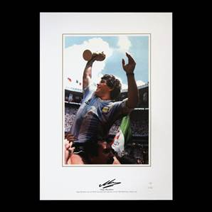 Diego Maradona signed print - World Cup Celebration