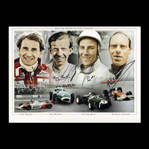 British Motor Racing Legends Signed By Watson, Brooks, Moss & Attwood