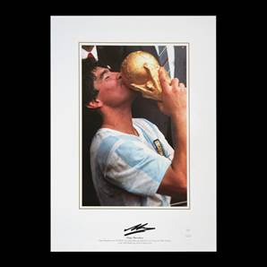 Diego Maradona signed World Cup print