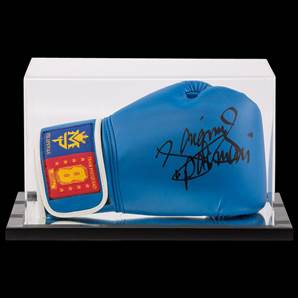 Manny Pacquiao Signed Boxing Glove Blue Team Pacquiao - In Acrylic Display Case