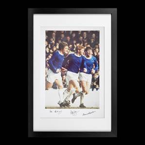 Everton Legends Personally Signed Photo - Holy Trinity, framed