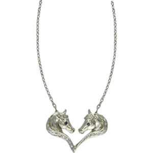 Horseheads in heart necklet with sapphires and diamonds
