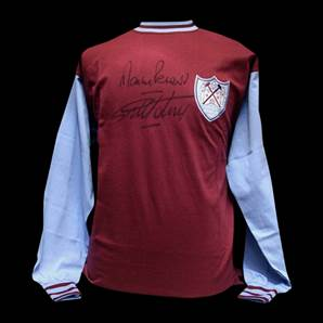 Sir Geoff Hurst and Martin Peters signed West Ham shirt - Cup Winners Cup 1965
