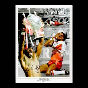Martin 'Chariots' Offiah Personally Signed Wigan Rugby Photo