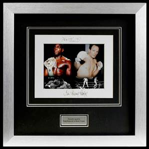 Frank Bruno & Sir Henry Cooper Personally Signed Photo Montage Presentation