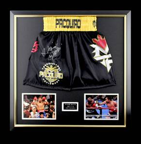 Manny Pacquiao Signed Black Boxing Shorts - Premium Framed
