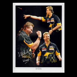 Simon 'The Wizard' Whitlock Personally Signed Darts Photo