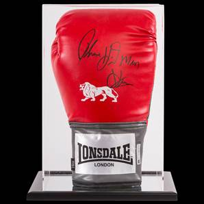 "Thomas ""The Hitman"" Hearns Signed Boxing Glove With Acrylic Display Case"