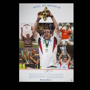 Martin Johnson signed England rugby print - Roll of Honour
