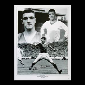 Bill Foulkes signed Manchester United print - Busby Babe