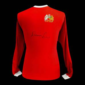 Denis Law Signed Retro Manchester United Shirt