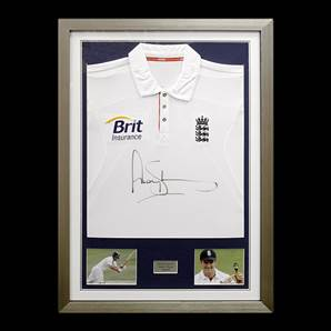 Andrew Strauss Signed England Cricket Shirt - Ashes, framed