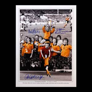 Wolverhampton Wanderers - 1974 League Cup Winners Personally Signed print By 3