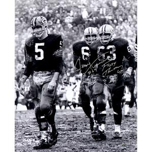 Fuzzy Thurston/ Jerry Kramer Dual Signed 16x20 Vertical B/W Photo Signed in Silver