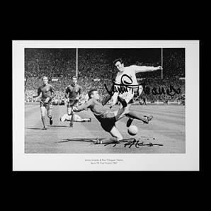 Jimmy Greaves and Ron Harris signed print - Chopped
