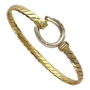 Horseshoe bangle in white and yellow gold