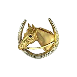 Horsehead in horseshoe brooch in yellow and white gold with sapphires.