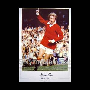 Denis Law signed Manchester United print - In Celebration of Law