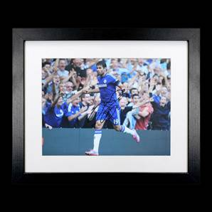 Diego Costa Signed Chelsea Photo - Hat Trick v Swansea City, framed