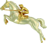 A Steeplechaser brooch in white and yellow gold