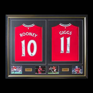 Wayne Rooney & Ryan Giggs Signed & Framed Manchester United Shirts - Dual Framed