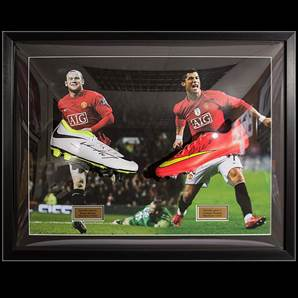 Wayne Rooney & Cristiano Ronaldo Signed & Framed Football Boots - Manchester United