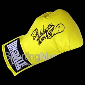Frank Bruno signed boxing glove - Yellow Lonsdale