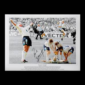 Paul Gascoigne autographed England picture - Dentist Chair