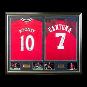 Eric Cantona & Wayne Rooney Dual Framed & Personally Signed Manchester United Shirts