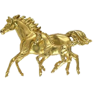 Cantering mare and foal brooch