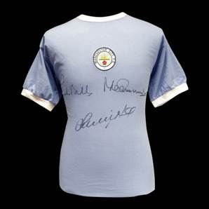 Manchester City shirt signed by Bell, Summerbee & Lee