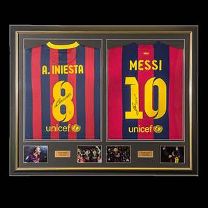 Andres Iniesta & Lionel Messi Dual Framed Signed Barcelona Shirts