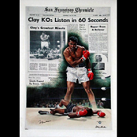 Muhammad Ali Signed Clay KO's Liston In 60 Seconds 39.5x28 Giclee Canvas
