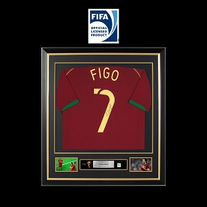 Official FIFA World Cup Luis Figo Signed and Framed Portugal Shirt