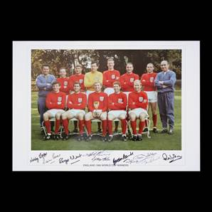 England 1966 World Cup winners signed print - Signed by 9 of the 1966 heroes