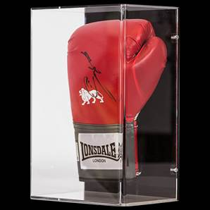 Sugar Ray Leonard Personally Signed Boxing Glove Lonsdale - In Wall Mount Acrylic Display Case