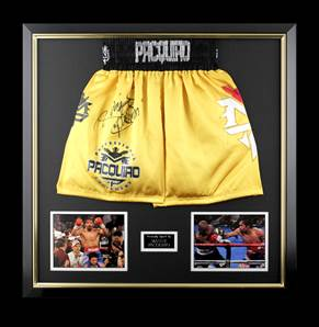 Manny Pacquiao Signed Gold Boxing Shorts - Premium Framed