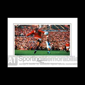 Denis Law signed Manchester United print - Denis The Menace