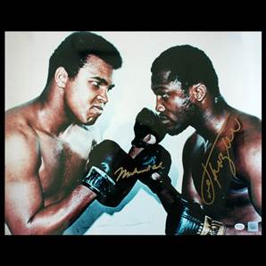Muhammad Ali & Joe Frazier Dual Signed Photo - Face to Face