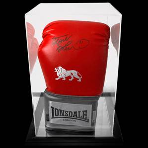 Frank Bruno Personally Signed Boxing Glove Red Lonsdale With Acrylic Display Case