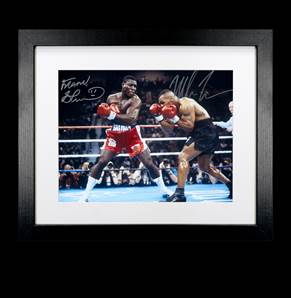 Mike Tyson & Frank Bruno Dual Signed Photo - WBC Heavyweight Title In Las Vegas 1996, framed