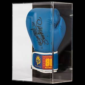Manny Pacquiao Signed Boxing Glove Blue Team Pacquiao - In Wall Mount Acrylic Display Case