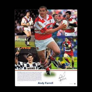Andy Farrell signed print - Wigan Warrior