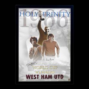 Sir Geoff Hurst & Martin Peters Personally Signed West Ham Poster, Framed